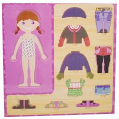 Puzzle din lemn - imbraca fetita - jucarie distractiva