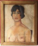 Nud , portret de tanara , ulei pe carton , pictura veche
