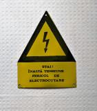 Tabla emailata de avertizare , placuta de avertizare veche, tabla emailata veche