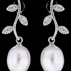 Cercei din Argint 925 cu Perle Naturale si Diamante, Olive