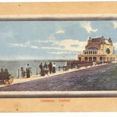 2833 - CONSTANTA, faleza si cazinoul, Romania - old postcard - used - 1911, Circulata, Printata