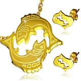 Set auriu din oțel - pandantiv și cercei, semn zodiacal Pești