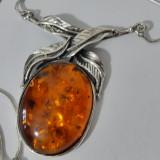 Colier argint cu chihlimbar vintage -x39