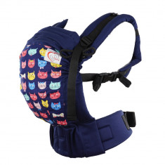 Marsupiu ergonomic SSC Happy Hug, Baby(+1luni) - Pisici Navy