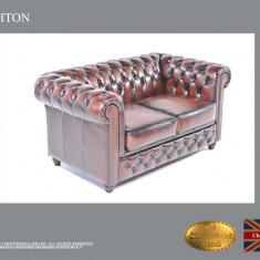 Canapea din piele naturală -2 locuri-Maro Antic  -Autentic Chesterfield Brand