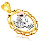 Cumpara ieftin Pandantiv din aur combinat 14K - înger cu o inimă în mâini, în cadru oval