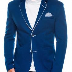 Sacou pentru barbati, bleu, casual, slim fit, cu buzunare aplicate, elegant, inchidere doi nasturi - M81