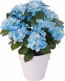 Cumpara ieftin Hortensie Artificiala decorativa, culoare Albastra cu frunze Verzi in ghiveci Alb, de interior sau exterior, rezistente la Umiditate, D floare 37 cm,