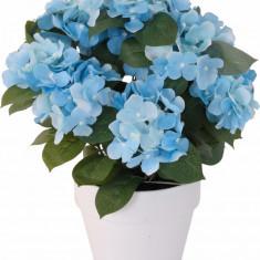 Hortensie Artificiala decorativa culoare Albastra cu frunze Verzi in ghiveci Alb de interior sau exterior rezistente la Umiditate D floare 37 cm D ghi