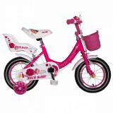 Bicicleta fete Rich Baby T1205C 12 inch C-Brake cu roti ajutatoare 2-4 ani fucsiaalb