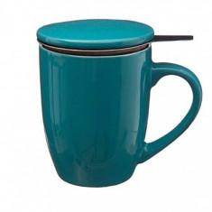 Cana cu infuzor pentru Ceai, 320 ml, Portelan, Bleu
