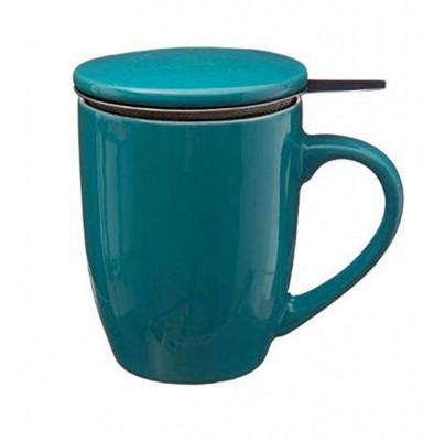 Cana cu infuzor pentru Ceai, 320 ml, Portelan, Bleu foto