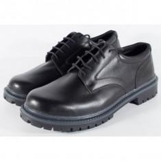 Pantofi/Ghete negri, pentru barbati/barbatesti, din piele naturala 100% (cod SPBL2)
