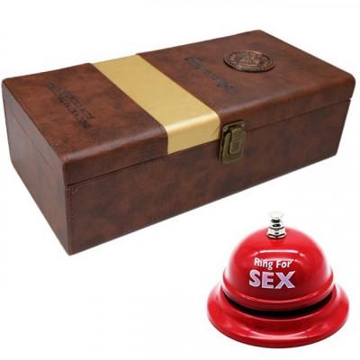 Pachet cutie cadou tip cufar pentru vin, model Premium cu maner si accesorii... foto