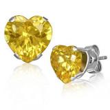 Cercei din oțel, inimioară, zirconiu galben, închizătoare cu șuruburi