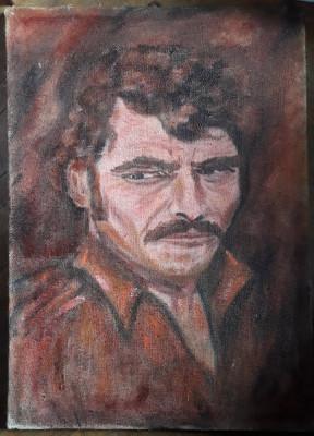 Portret de barbat pictura veche in ulei pe panza foto