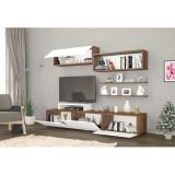 Omoda TV din pal, Deko Homs, alb/nuc, 150 x 30 x 35 cm