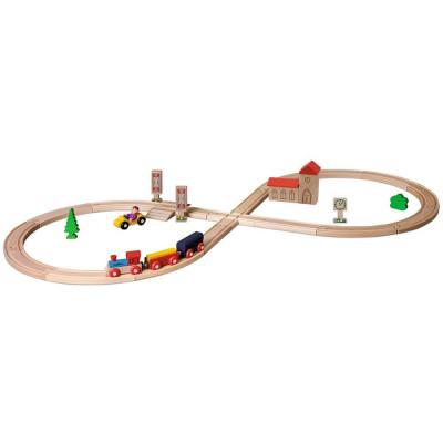 Set din lemn Eichhorn Tren cu sina in forma 8 si accesorii foto