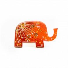 Brosa LEMN Elefant colorat