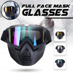 Masca + ochelari SKI SNOWBOARD MOTOCICLETA ochelari colorati detasabili reglabil