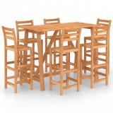 Set mobilier bar de exterior, 7 piese, lemn masiv de acacia, vidaXL