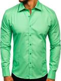 Cămașă elegantă pentru bărbat cu mâneca lungă verde-mentă Bolf 1703, Maneca lunga