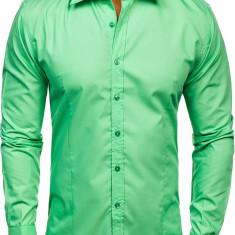 Cămașă elegantă pentru bărbat cu mâneca lungă verde-mentă Bolf 1703