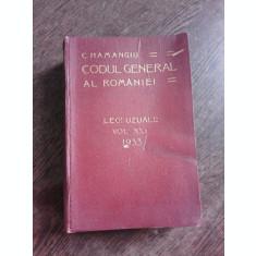 CODUL GENERAL AL ROMANIEI VOL. XXI 1933