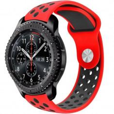 Curea ceas Smartwatch Samsung Gear S3, iUni 22 mm Silicon Sport Red-Black