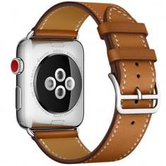 Curea pentru Apple Watch 44mm piele iUni Single Tour Maro