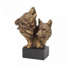 Statueta bust lupi finisaj bronz Cantecul Salbticiei 23 cm
