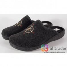 Papuci de casa gri din lana pentru barbati/barbatesti (cod 191047)
