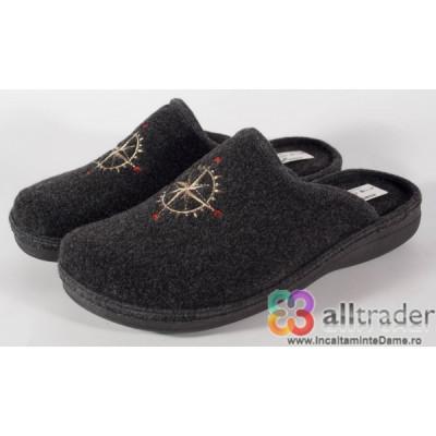 Papuci de casa gri din lana pentru barbati/barbatesti (cod 191047) foto