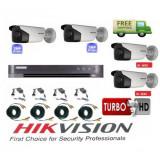Sistem supraveghere video Hikvision 4 camere 2MP Turbo HD IR 80 M si IR 40 M cu DVR Hikvision 4 canale, full accesorii SafetyGuard Surveillance