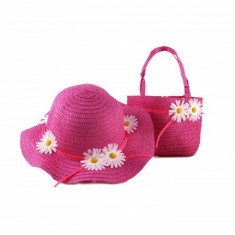 Set palarie + geanta din paie de copii fata