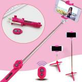 Selfie stick tripod, bluetooth, telecomanda, ajustabil, roz, Gonga
