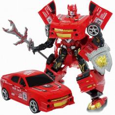 Robot de jucarie, model transformer in masinuta sport, rosu, 28x25x4 cm
