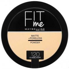 Pudra compacta matifianta Maybelline New York Fit Me Matte Poreless Pressed Powder 120 Classic Ivory 14 gr