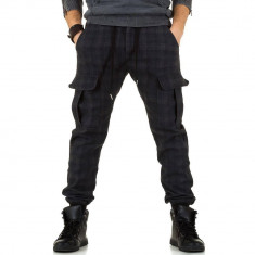 Pantaloni barbatesti, casual, cu imprimeu in carouri - Xzx-Design, Gri, 28, 30