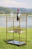 Cumpara ieftin Masa minibar mobila din metal si sticla Glam Rett Auriu, L60xl30,5xH80 cm