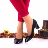 Pantofi dama din piele intoarsa si piele lacuita toc 7cm - NAA3NSL