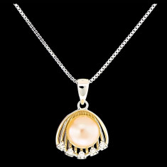Colier din Argint 925 cu Perla Naturala si Diamante, Eva Pink