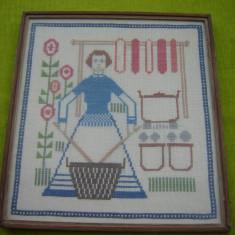 Spalatoreasa, tablou cusut manual pe panza