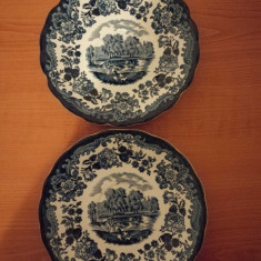 Doua farfurii portelan Royal Worcester Avon Scenes Palissy UK 16.5 cm