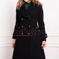 Palton dama MBG negru trei sferturi croi A din stofa cu nasturi argintii
