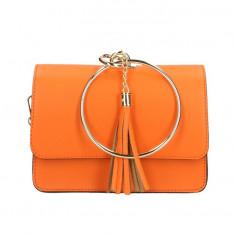 Geanta casual din piele naturala Orange Ring