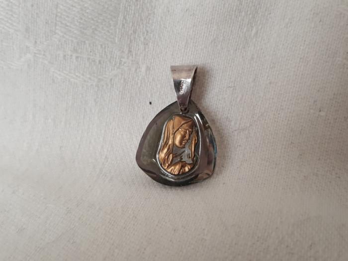 MEDALION argint FECIOARA MARIA aurita pe sticla EXCEPTIONAL rar DE EFECT vechi
