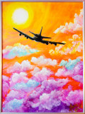"Cumpara ieftin Tablou pictat / pictura 30x40 cm ""Fly with Me"", Peisaje, Acrilic, Impresionism"