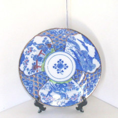 Farfurie portelan japonez, pictura manuala Inbante, 1910-20 - marcaj Kutani Kuma