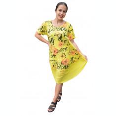 Rochie Agnette din bumbac, imprimeu floral, nuanta de galben